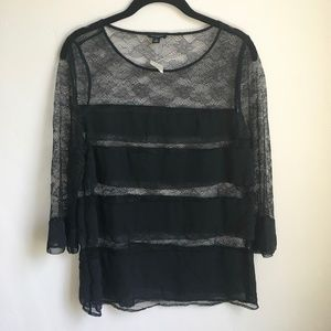 New Lace Ruffled Black Top
